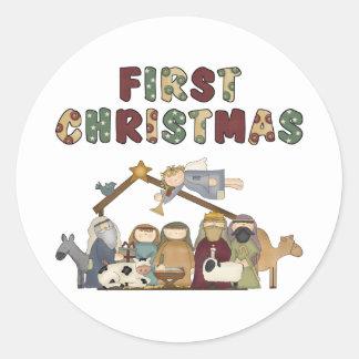 Pegatinas de la natividad del navidad pegatinas redondas