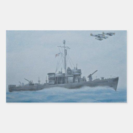 Pegatinas de la nave de WWII Pegatina Rectangular