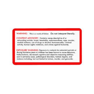 Pegatinas de la negación de la biblia etiquetas de dirección