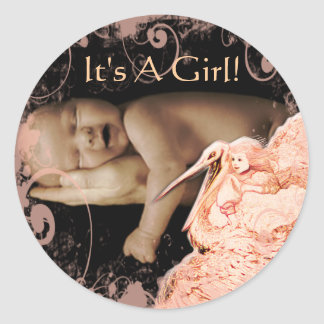 Pegatinas de la niña con su foto del bebé etiquetas redondas
