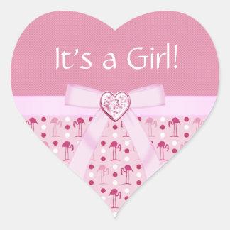 Pegatinas de la niña del flamenco rosado del país calcomanías corazones personalizadas