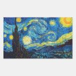 Pegatinas de la noche estrellada de Van Gogh Rectangular Pegatina