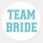Pegatinas de la novia del equipo del azul y del etiquetas redondas