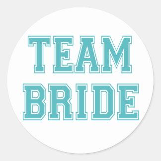 Pegatinas de la novia del equipo del azul y del pegatina redonda