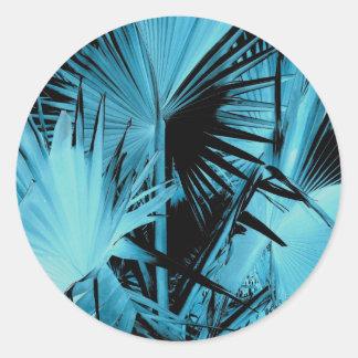 Pegatinas de la palma de Bismarck azules Etiquetas Redondas
