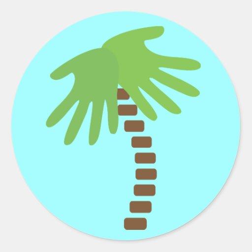 Pegatinas de la palmera de la quiropráctica pegatinas redondas