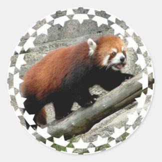 Pegatinas de la panda roja pegatina redonda