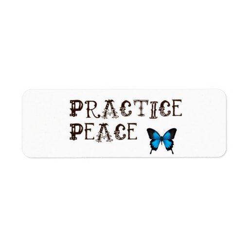 Pegatinas de la paz de la práctica etiqueta de remite