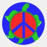 Pegatinas de la paz de la tortuga pegatina redonda