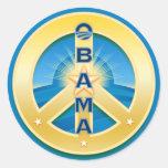 Pegatinas de la paz de Obama Goldstar, en azul