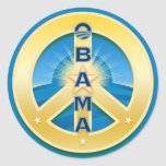 Pegatinas de la paz de Obama Goldstar, en azul Pegatinas Redondas