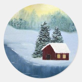 Pegatinas de la paz del invierno pegatina redonda