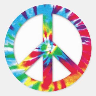 Pegatinas de la paz del teñido anudado pegatina redonda