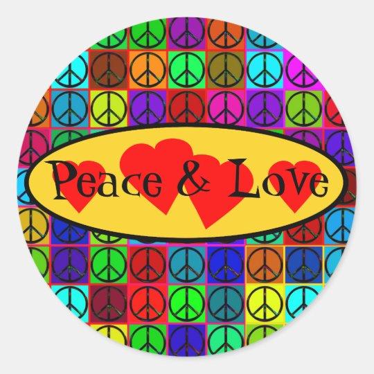 Pegatinas de la paz y del amor pegatina redonda