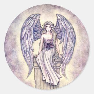 Pegatinas de la perca del ángel por Molly Harrison Pegatina Redonda
