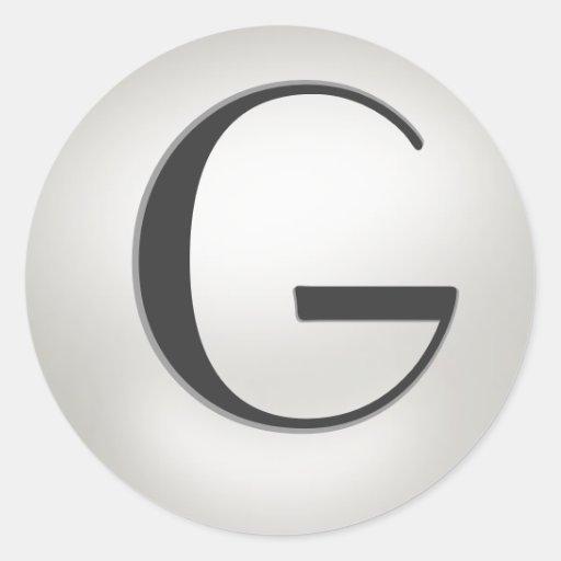 Pegatinas de la perla del monograma = monograma G Pegatinas Redondas