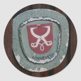 Pegatinas de la placa de la puerta de Konnevesi Pegatina Redonda