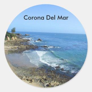 Pegatinas de la playa de Corona del Mar California Pegatinas Redondas