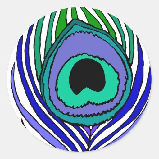 Pegatinas de la pluma del pavo real pegatina redonda
