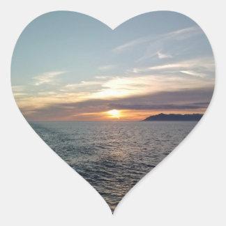 Pegatinas de la puesta del sol de la retrospección colcomanias corazon