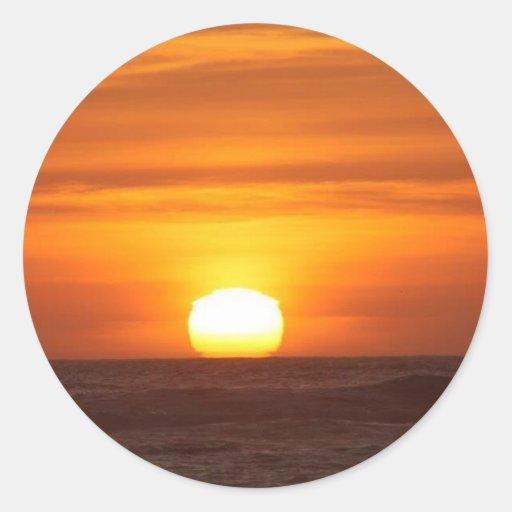 Pegatinas de la puesta del sol pegatina redonda