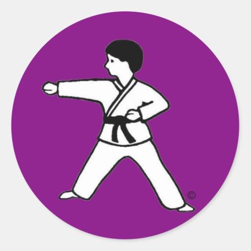 Pegatinas de la púrpura de Karate Kid 1 Pegatina Redonda