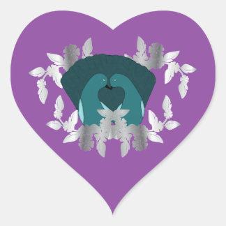 Pegatinas de la púrpura de los pájaros del amor pegatina de corazón personalizadas