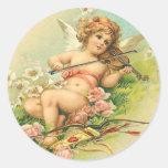 Pegatinas de la querube y del violín del vintage pegatina redonda