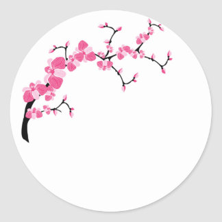 Pegatinas de la rama de árbol de la flor de cerezo pegatina redonda