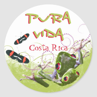Pegatinas de la rana arbórea de Rican Pura Vida de Pegatina Redonda