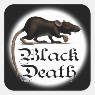 Pegatinas de la rata de la muerte negra calcomanías cuadradases