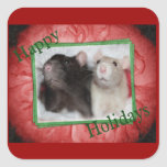Pegatinas de la rata del día de fiesta pegatinas cuadradas