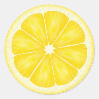 Pegatinas de la rebanada del limón pegatina redonda