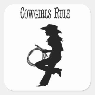 Pegatinas de la regla de las vaqueras pegatina cuadrada