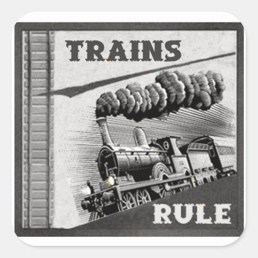 Pegatinas de la regla de los trenes pegatina cuadrada