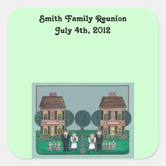 Pegatinas de la reunión de familia pegatinas cuadradas personalizadas