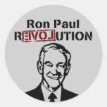 Pegatinas de la revolución de Ron Paul Etiqueta Redonda