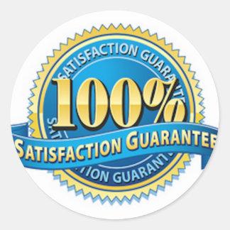 Pegatinas de la satisfacción garantizada pegatina redonda