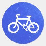 Pegatinas de la señal de tráfico de bicicleta etiqueta redonda