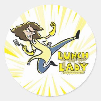 Pegatinas de la señora del almuerzo pegatina redonda