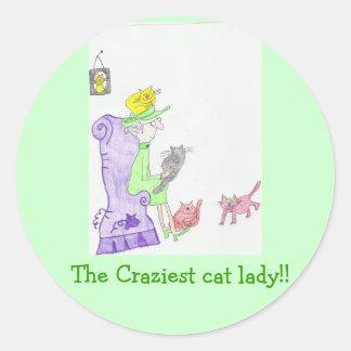¡Pegatinas de la señora del gato!! Pegatina Redonda