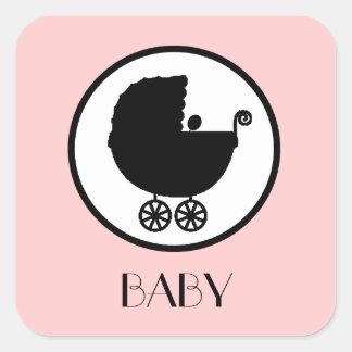 Pegatinas de la silueta del carro de bebé pegatina cuadrada
