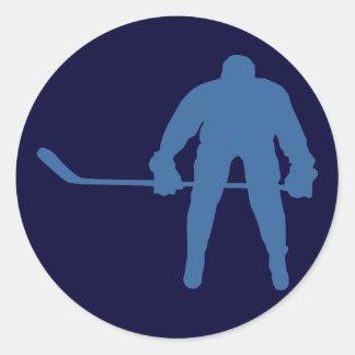 Pegatinas de la silueta del hockey pegatina redonda