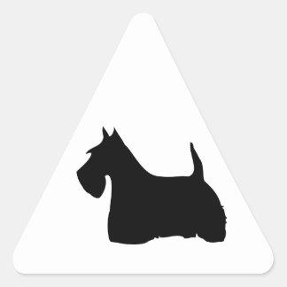 Pegatinas de la silueta del negro del perro de pegatina triangular