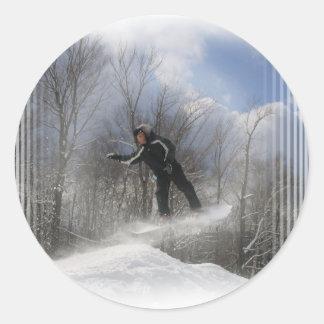 Pegatinas de la snowboard 360 etiquetas redondas