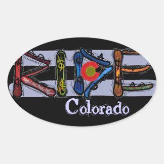 Pegatinas de la snowboard de Colorado del paseo Pegatina Ovalada