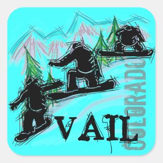Pegatinas de la snowboard de Vail Colorado Pegatina Cuadrada