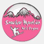 Pegatinas de la snowboard del tema del rosa de la