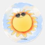 Pegatinas de la sol soleada y brillante etiqueta redonda