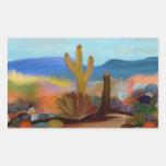 Pegatinas de la tapicería del desierto pegatina rectangular
